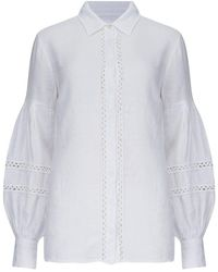 120% Lino Shirt With Fret Work Detail In - White