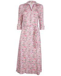 The West Village Shirt Dress Deep Ditsy Floral - Pink