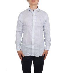 Ralph Lauren Men's 712798966004 Light Blue Linen Shirt