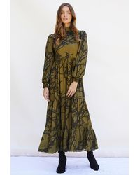 PHOEBE GRACE Betty Dress Midaxi With Puffed Long Sleeve And High Neck In Khaki Tree - Multicolour