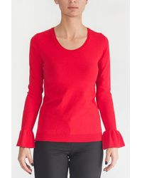 Sfizio Long Sleeve Shirt With Bell Cuffs - Red