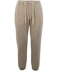 Berna Beige Cotton Sweatpants - Brown