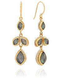 Anna Beck Gray Quartz Chandelier Earrings - Metallic