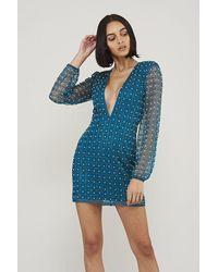 Frock and Frill Starlet Embellished Plunge Mini Dress - Blue