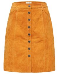 SELECTED - Atla Suede Skirt In Yellow - Lyst