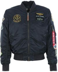 Alpha Industries Ma-1 Pilot Black Jacket | - Blue