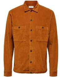 SELECTED Loose Cord Overshirt Sugar Almond - Multicolour