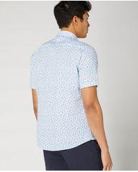 Remus Uomo White With Foliage Pattern Short-sleeved Shirt - Blue