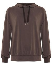 French Connection Renya Cupro Jersey Hoodie Top- Walnut-76qba - Multicolour