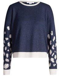 Duffy Women's D81414 Leopard Print Arm Sweater In Cream Or Blue