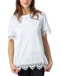 Desigual Women's 20swtkcgwhite White Cotton T-shirt