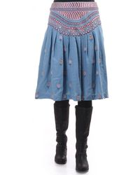 Plenty by Tracy Reese Knee Length Embroidered Wool Skirt - Blue