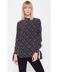 Equipment - Aurora Silk Shirt In True Black Floral Print - Lyst