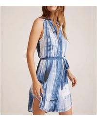 Bella Dahl S/s Pleat Front Dress Blurred Stripe - Blue