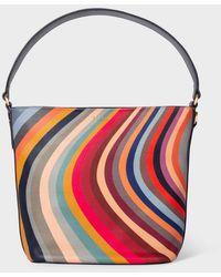Paul Smith Swirl Print Leather Bucket Bag W1a-6345-dswirl-90 - Red