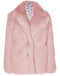 Charlotte Simone Huggle Pink Shaggy Faux Fur Coat