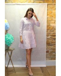 120% Lino Button Up Tiered Dress In Rosewater - Pink
