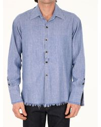 Greg Lauren Chambray Dress Shirt - Blue