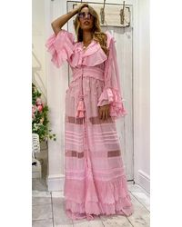 DIAMOND for EDEN Embroidered Maxi Kaftan / Duster Marlyn In Pink