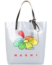 Marni Shopping Bag With Logo - Metallic