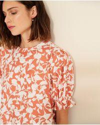 Yerse Floral Print Blouse (orange)