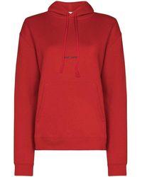 Saint Laurent Saint Laurent - Printed Logo Hoodie Sweatshirt - Red