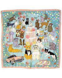 Karen Mabon Confetti Cats Silk Scarf - Blue