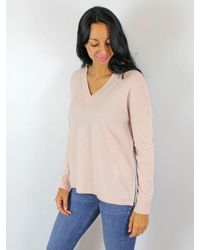 Cocoa Cashmere V Neck Sweater Pink & Grey