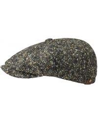 Stetson Hatteras Donegal Virgin Wool Flat Cap - Black/olive