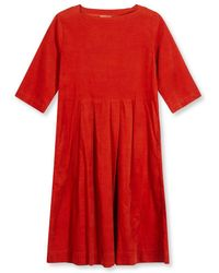 Burrows and Hare Burrows & Hare 's Needlecord Dress - Rust - Red