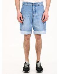 Balmain Denim Cargo Shorts - Blue
