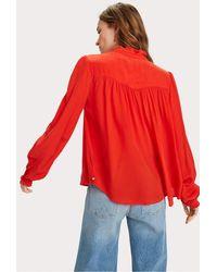 Maison Scotch Feminine Shirt With Pleat Detail - Red