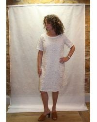 120% Lino Scoop Neck Linen Glitter Dress In White - Multicolour