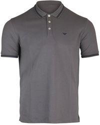 Emporio Armani Short Sleeved Polo With Trim - Gray