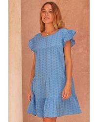Aspiga Debbie Broderie Anglaise Organic Cotton Dress | Marina - Blue