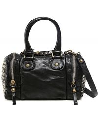 Campomaggi Studded Leather Bowling Bag Colour: Black