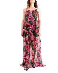 "Patrizia Pepe 2a2199 / A9c0 Long Dress With Print ""jungle"" All Over - Black"