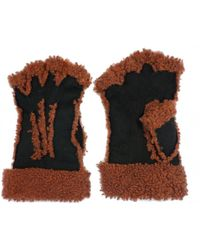Maison Fabre Larzac Sheepskin Leather Mittens Gloves - Black