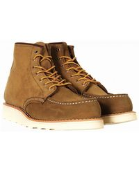 """Red Wing Women's 3377 Heritage 6"""" Moc Toe Boot - Olive Mohave Leather - Brown"""