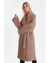 Ichi Stipa Camel Melange Coat - Multicolour