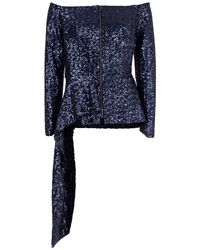 Roland Mouret Endfield Stretch Micro Jacket - Blue