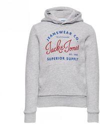 Jack & Jones Logo Hooded Sweat - Light Grey Melange