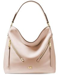 a255ee7258d5ee MICHAEL Michael Kors - Michael Kors Evie Large Soft Pink Leather Hobo Bag -  Lyst