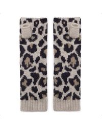 The West Village Beige Leopard Wrist Warmers - Multicolour