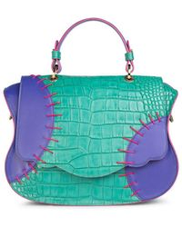 Thale Blanc Audrey Colour Block Satchel: Green-blue Designer Satchel Bag