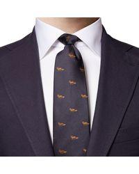 Eton Dark Fox Print Silk Tie A0003310129 - Blue