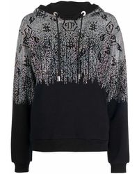 Philipp Plein Crystal-monogram Pullover Hoodie - Black
