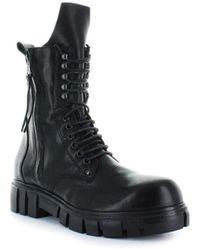 FRU.IT Black Leather Combat Boots 37