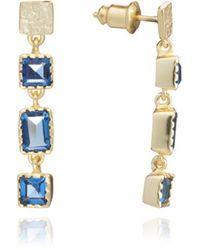 Azuni London Mosaic Long Gemstone Stud Earrings In Iolite - Metallic