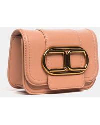 Elisabetta Franchi Mini Rosegold Clutch Bag With Chain Strap And Maxi Logo - Multicolor